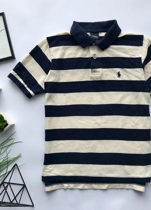 Оригинальная  полосатая футболка поло ralph lauren на мальчика 7-8 лет