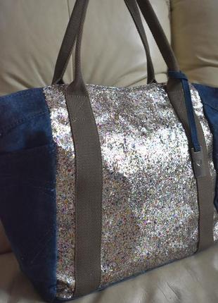 Большая джинсовая сумка шоппер – в блестках