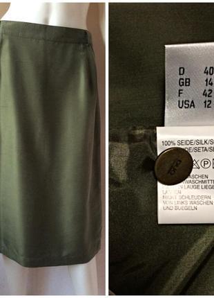 Duo шелковая классическая  юбка миди цвета милитари