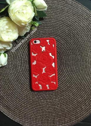 Крутой силиконовый чехол с розами на айфон iphone 6/6s красный