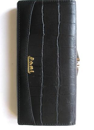 Большой кожаный кошелек крокодил fani, 100% натуральная кожа, есть доставка бесплатно