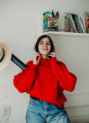 Красный свитер h&m