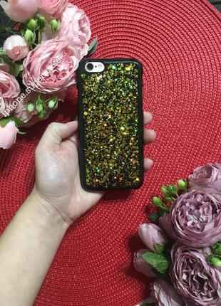 Красивый силиконовый чехол на айфон iphone 6/6s черный с золотом