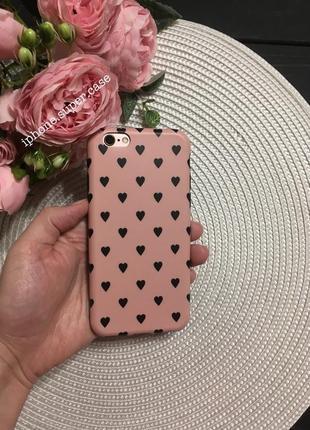 Нежный силиконовый чехол с сердечками на айфон iphone 6/6s 6/6s plus розовый