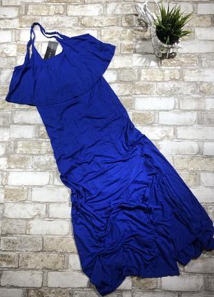 Яркое стильное трикотажное платье в пол с разрезом, сарафан макси с воланом