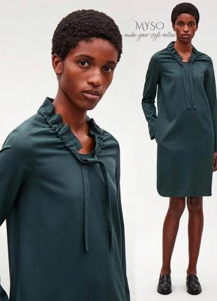 Шерстяное платье изумрудного цвета cos