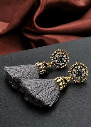 Винтажные серьги-гвоздики с кисточками кристальные бусины серые бохо4