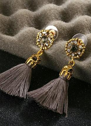 Винтажные серьги-гвоздики с кисточками кристальные бусины серые бохо9
