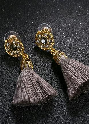 Винтажные серьги-гвоздики с кисточками кристальные бусины серые бохо7
