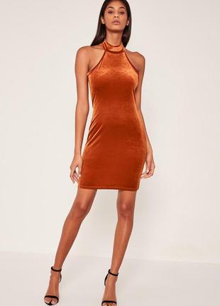 Терракотовое/оранжевое велюровое/бархатное платье без рукавов в обтяжку missguided
