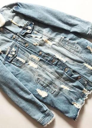 Удлиненная джинсовая куртка на меху  р 12 очень крутая вещь