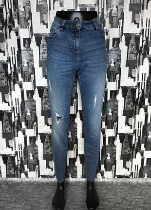 #537 джинсы скинни завышенной посадки с потёртостями next