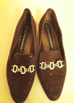 Туфли лоферы с пряжкой ,замша
