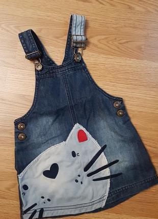 Крутой джинсовый сарафан с котом 12-18 месяцев1