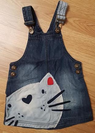 Крутой джинсовый сарафан с котом 12-18 месяцев3