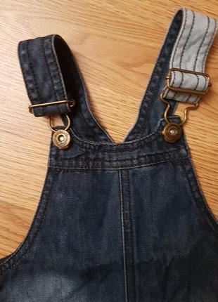Крутой джинсовый сарафан с котом 12-18 месяцев4