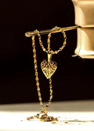 Браслет на ногу с кулоном в виде сердца, позолоченный, позолота, желтое золото