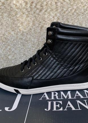 Кожаные кеды ботинки armani (оригинал с коробкой) стелька 26,5см