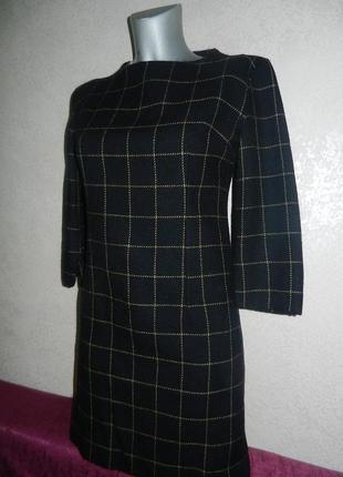 Модное теплое шерстяное платье в клетку,шерсть s/38