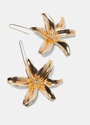 Серьги цветок золотой/стиль zara2