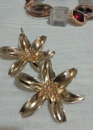 Серьги цветок золотой/стиль zara4