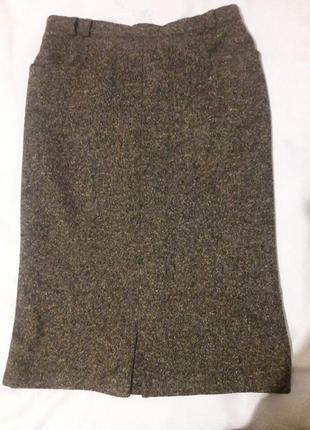 Юбка класика 100% шерсть меланжевая с карманами экслюзив