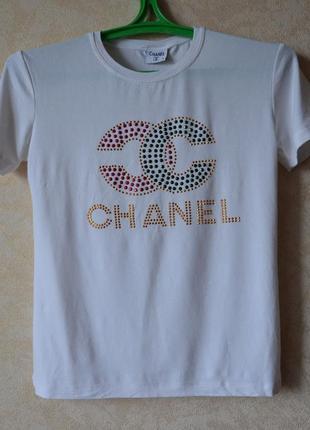 Футболка chanel  белая /белая футболка с принтом1 фото