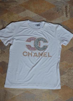 Футболка chanel  белая /белая футболка с принтом5 фото