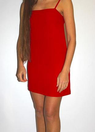 Красное платье на бретельках ( крой прямой )1 фото