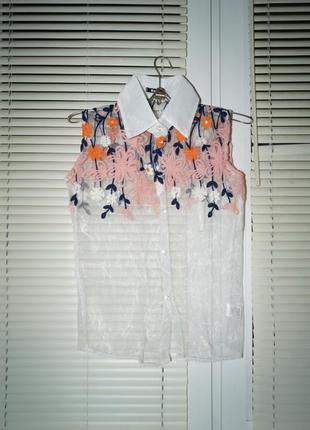 Блузка -рубашка безрукавка4 фото