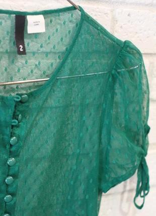 Прозрачная зеленая блуза s4