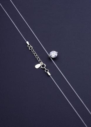 Подвеска 'sunstones' фианит 40 см. серебро 925