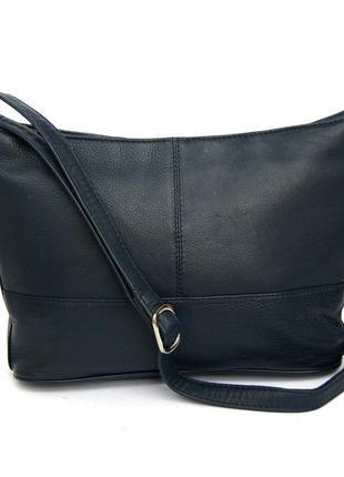 Clarks. функциональная кожаная сумка через плечо. темно синяя2