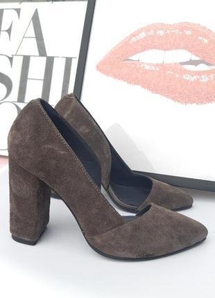 Туфли женские на каблуке натуральная замша1