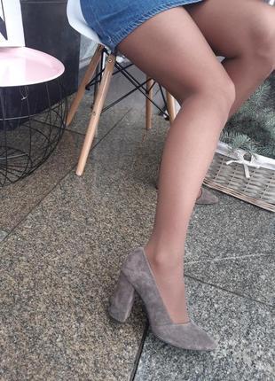 Туфли женские на каблуке натуральная замша5