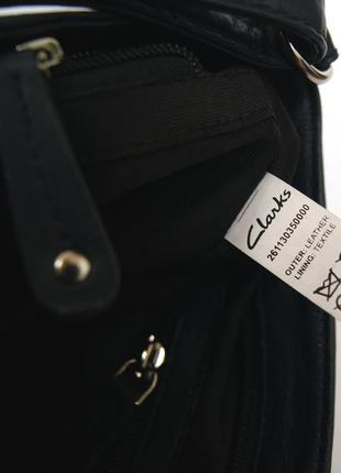 Clarks. функциональная кожаная сумка через плечо. темно синяя10