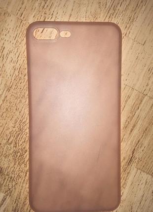 Нежно розовый полупрозрачный чехол на iphone 7+/8+1 фото