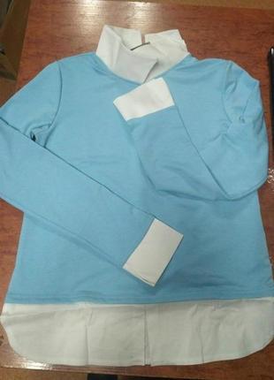 Стильный костюм двойка с рубашкой обманкой4