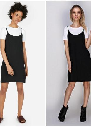 Распродажа! двойка черный сарафан и белая футболка от1