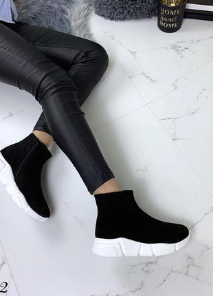 Замшевые демисезонные ботинки полуботинки в спортивном стиле. 36-403 фото