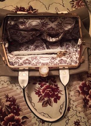Фирменная сумка gussaci; черно-бежевая сумка;2