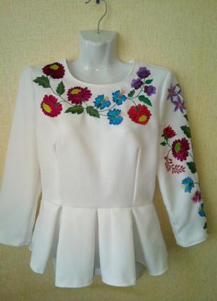 Блузка вышиванка блуза р.44-46 р.s ручная работа1 фото