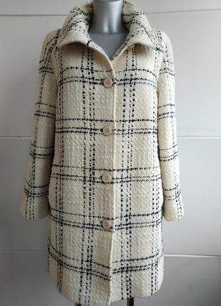Шерстяное пальто бренда marks&spencer в широкую клетку с боковыми карманами1