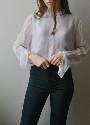 Легкая лавандовая блуза massimo dutti2