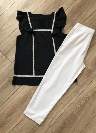 Белые брюки с высокой посадкой marks&spencer