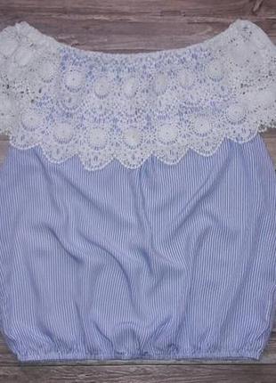 Блуза с кружевом на плечи р.l3 фото