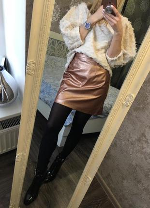 Бронзовая юбка из кожзама1