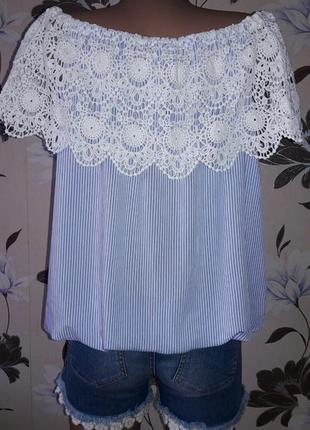 Блуза с кружевом на плечи р.l2 фото