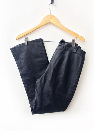 Кожаные брюки высокая посадка1