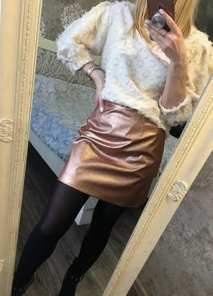 Бронзовая юбка из кожзама3